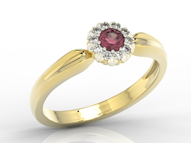 Diamonds & ruby 14ct yellow & white gold ring AP-42ZB