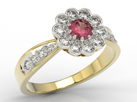 Diamonds & ruby 14ct yellow & white gold ring JP-95ZB-R