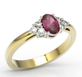Diamonds & ruby 14ct yellow & white gold ring LP-88ZB