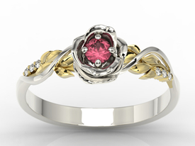Diamonds & ruby 14ct yellow & white gold ring in the shape of a rose LP-77BZ