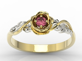 Diamonds & ruby 14ct yellow & white gold ring in the shape of a rose LP-77ZB