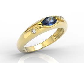 Diamonds & sapphire 14 ct gold ring JP-57Z