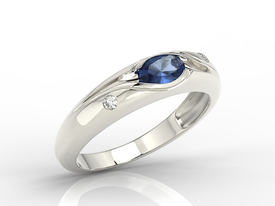 Diamonds & sapphire 14 ct white gold ring JP-57B