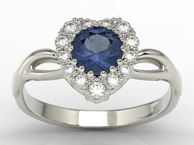 Diamonds & sapphire 14 ct white gold ring in the shape of a heard AP-77B