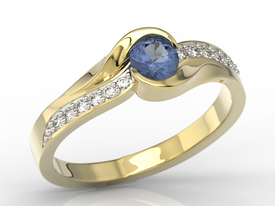 Diamonds & sapphire 14ct gold engagement ring AP-6139Z-R