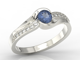 Diamonds & sapphire 14ct white gold engagement ring AP-6139B