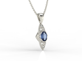 Diamonds & sapphire 14ct white gold pendant APW-80B