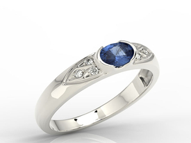 Diamonds & sapphire 14ct white gold ring 0,06ct  AP-80B