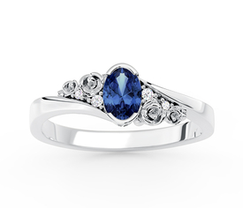 Diamonds & sapphire 14ct white gold ring AP-39B 0,03 ct