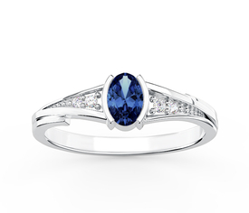 Diamonds & sapphire 14ct white gold ring JP-2705B