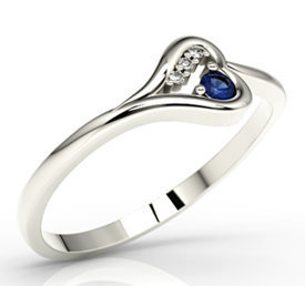 Diamonds & sapphire, 14ct white gold ring LP-98B