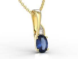 Diamonds & sapphire 14ct yellow gold pendant APW-60Z-R