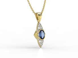 Diamonds & sapphire 14ct yellow gold pendant APW-80Z-R