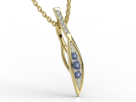 Diamonds & sapphire 14ct yellow gold pendant APW-97Z-R