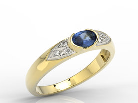 Diamonds & sapphire 14ct yellow gold ring 0,06ct  AP-80Z