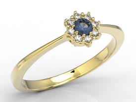 Diamonds & sapphire 14ct yellow gold ring  JP-49Z