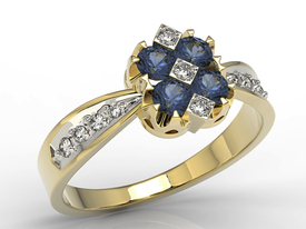 Diamonds & sapphire 14ct yellow gold ring JP-56Z-R