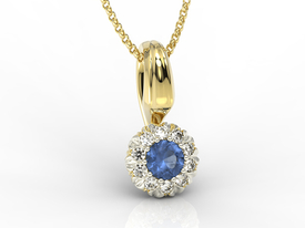 Diamonds & sapphire 14ct yellow & white gold pendant APW-42ZB