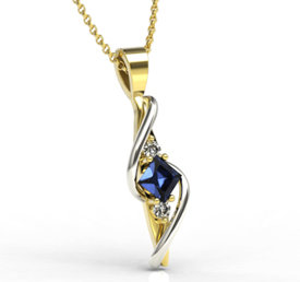 Diamonds & sapphire 14ct yellow & white gold pendant LPW-32ZB