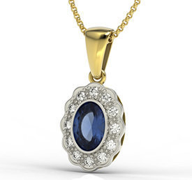 Diamonds & sapphire 14ct yellow & white gold pendant LPW-79ZB