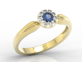 Diamonds & sapphire 14ct yellow & white gold ring AP-42ZB