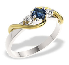 Diamonds & sapphire 14ct yellow & white gold ring LP-32BZ