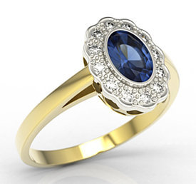 Diamonds & sapphire 14ct yellow & white gold ring LP-79ZB