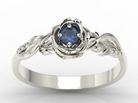 Diamonds & sapphire, white gold ring in the shape of rose LP-7715B