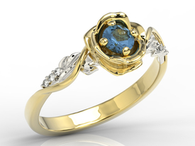 Diamonds & sapphire, yellow & white gold ring in the shape of rose LP-7730ZB