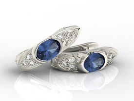 Diamonds & sapphires 14 ct white gold earrings APK-80B