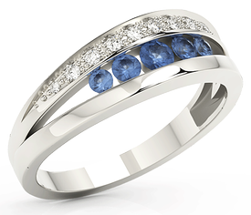 Diamonds & sapphires 14ct white gold ring JP-59B