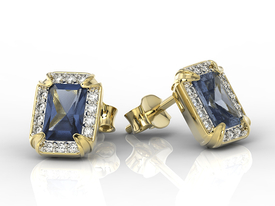 Diamonds & sapphires 14ct yellow gold earrings LPK-84Z-R