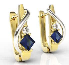 Diamonds & sapphires 14ct yellow & white gold earrings LPK-32ZB