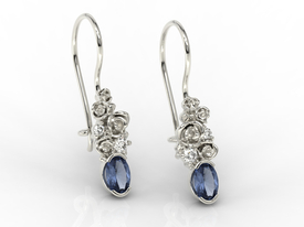 Diamonds & sapphirs, 14ct yellow gold earrings APK-39Z