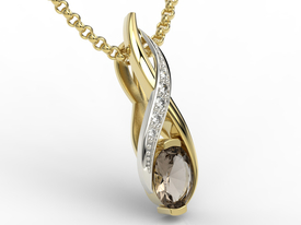 Diamonds & smoky quartz 14ct yellow & white gold pendant APW-69ZB