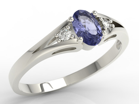 Diamonds & tanzanite 14ct white gold engagement ring JP-22B