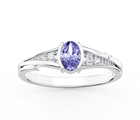Diamonds & tanzanite 14ct white gold ring JP-27B