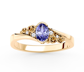 Diamonds & tanzanite 14ct yellow gold engagement ring AP-39Z