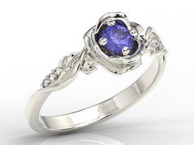 Diamonds & tanzanite, white gold ring in the shape of rose LP-7730B