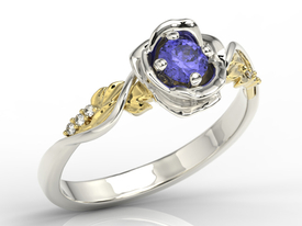 Diamonds & tanzanite white & yellow gold ring in the shape of rose LP-7730BZ