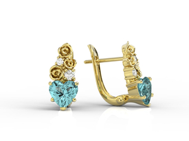 Diamonds & topaz blue in form the hearts, 14ct yellow gold earrings APK-53Z