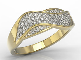 Diamonds yellow gold ring AP-7924Z-R, 0,24 ct H/Si