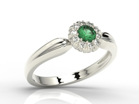 Emerald 14ct  white gold ring AP-42B-C