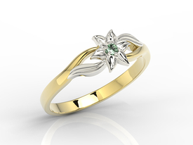 Emerald 14ct yellow & white gold ring BP-14ZB