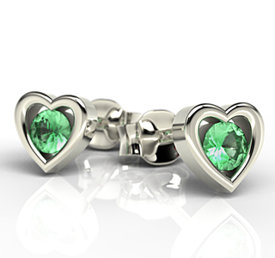 Emeralds, 14ct white gold earrings LPK-52B