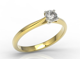 Engagement ring 14ct yellow & white gold with cubic zirconia AP-3530ZB-C