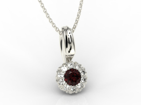 Garnet, 14ct white gold pendant with cubic zirconias APW-42B