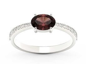 Garnet 14ct white gold ring with cubic zirconias BP-58B-C