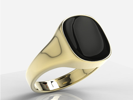 Onyx 14ct yellow gold signet SJ-23Z-ONY