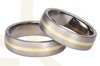 Pair of the titanium wedding rings with yellow gold SWTG-44/6